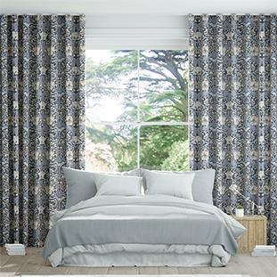 Wave William Morris Honeysuckle and Tulip Velvet Grey Blue Wave Curtains thumbnail image
