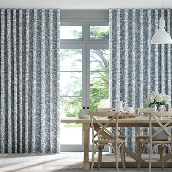 Wave William Morris Sunflower Vintage Blue Curtains