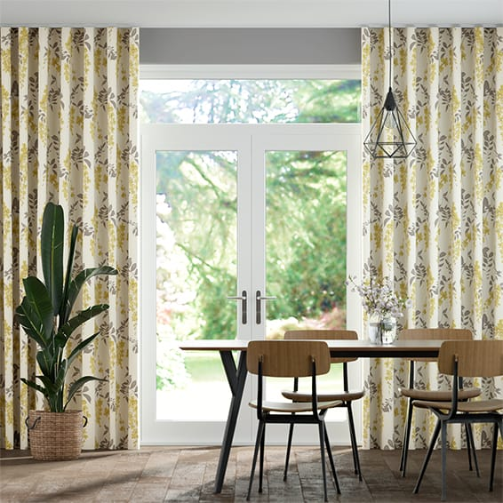 Wave Wisteria Blossom Charcoal Curtains