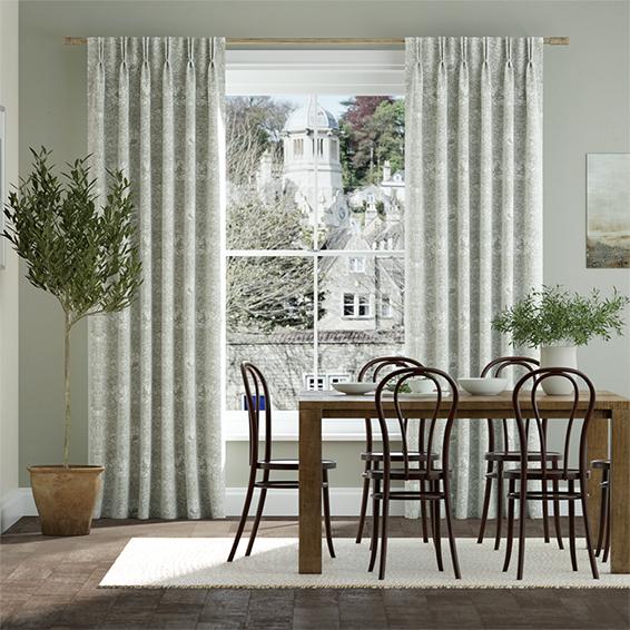 William Morris Honeysuckle and Tulip Natural Grey Curtains