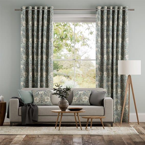William Morris Honeysuckle and Tulip Slate Curtains