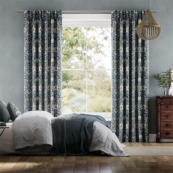 William Morris Honeysuckle and Tulip Velvet Grey Blue Curtains