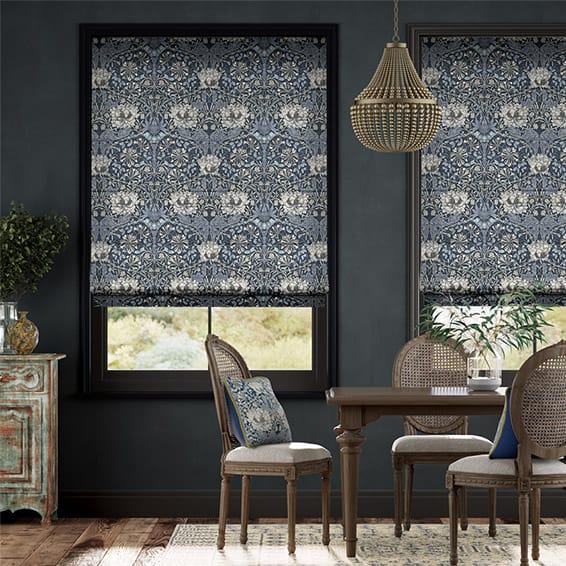 William Morris Honeysuckle and Tulip Velvet Grey Blue Roman Blind
