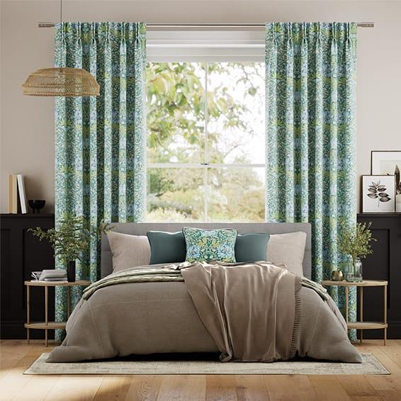 William Morris Honeysuckle and Tulip Velvet Moonstone Curtains