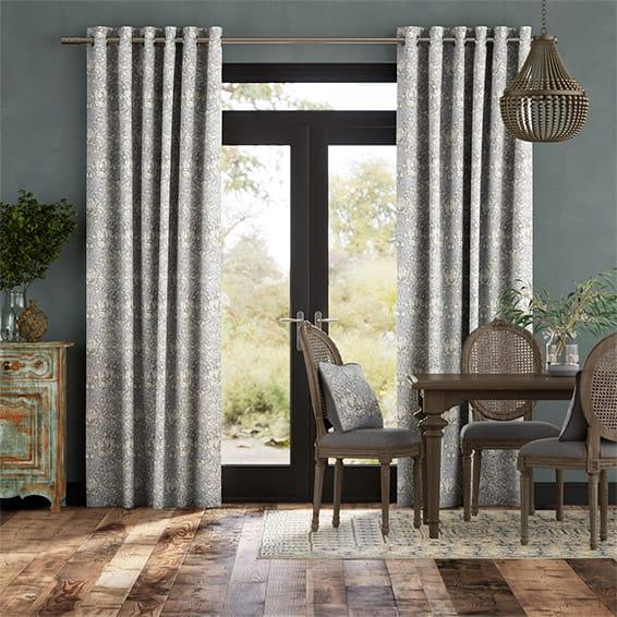 William Morris Honeysuckle and Tulip Velvet Pewter Curtains