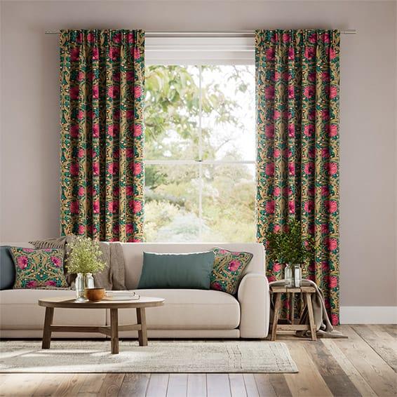 William Morris Pimpernel Teal Curtains