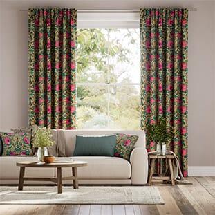 William Morris Pimpernel Teal Curtains thumbnail image