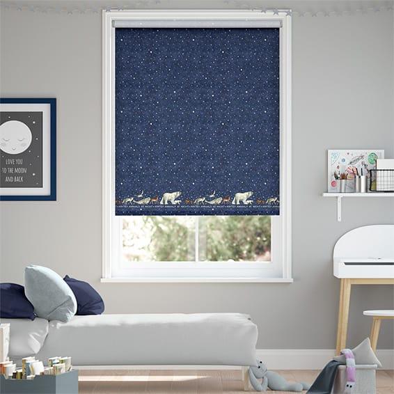 Winter Animals at Night Blue Roller Blind