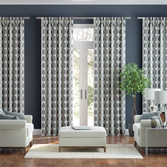 Winter Leaf Linen Gentle Blue Curtains