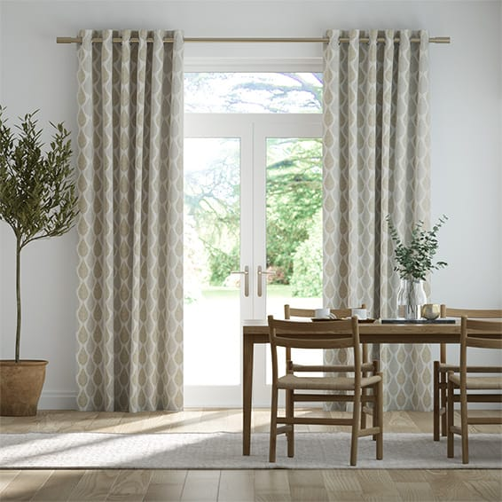 Winter Leaf Linen Hazelwood Curtains