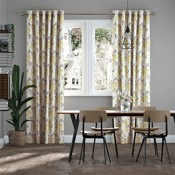 Wisteria Blossom Charcoal Curtains