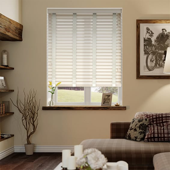 Antique Cream & Canvas Faux Wood Blind - 50mm Slat