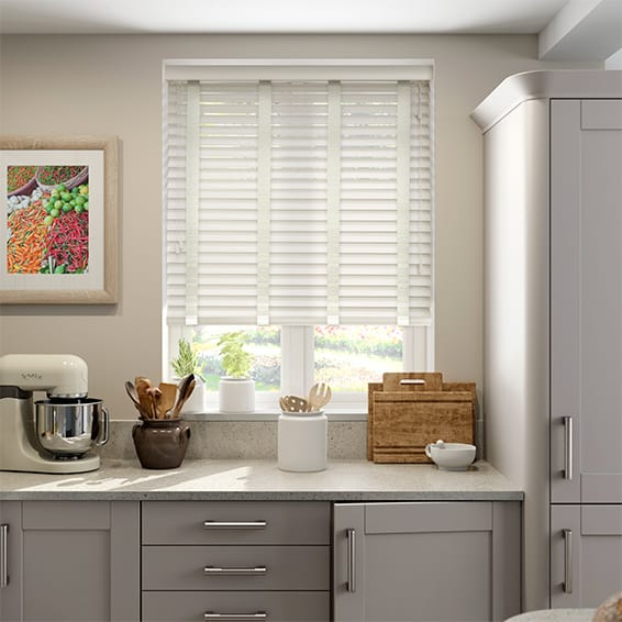 Cottage Cream & Canvas Faux Wood Blind - 50mm Slat