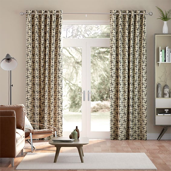 Woven Acorn Cup Charcoal Curtains